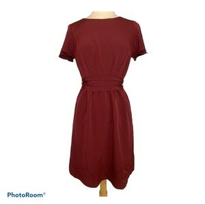 Lark & Ro Flutter Sleeve Dress with Ruched…